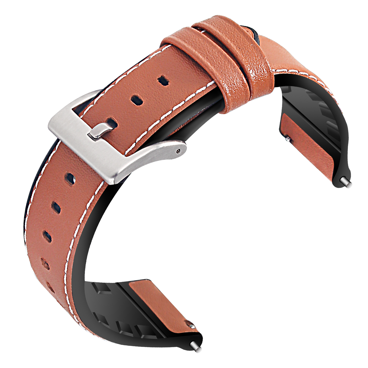 Leather Watch Bands with Soft Silicone Back - 22mm