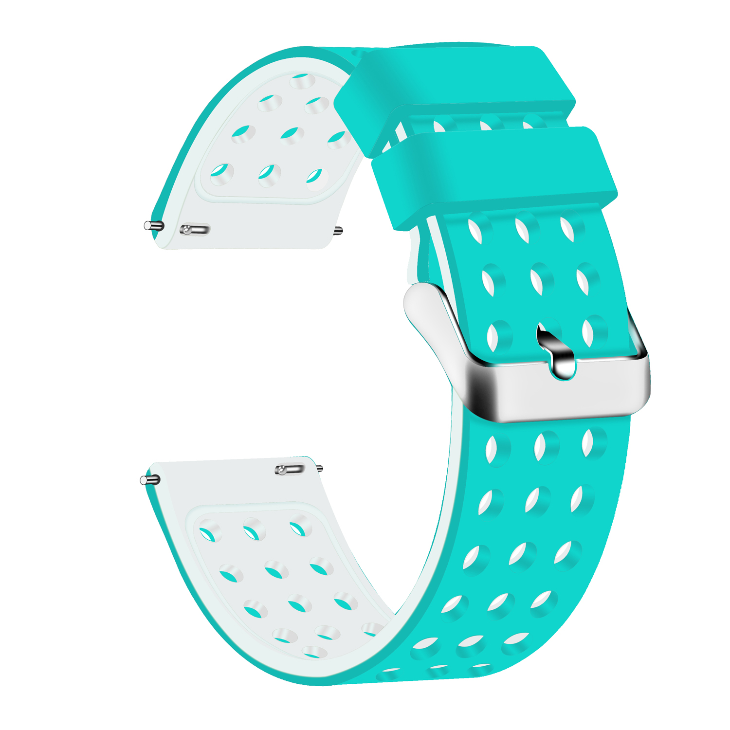 18mm silicone straps---Silicone Quick Release(Teal/White)